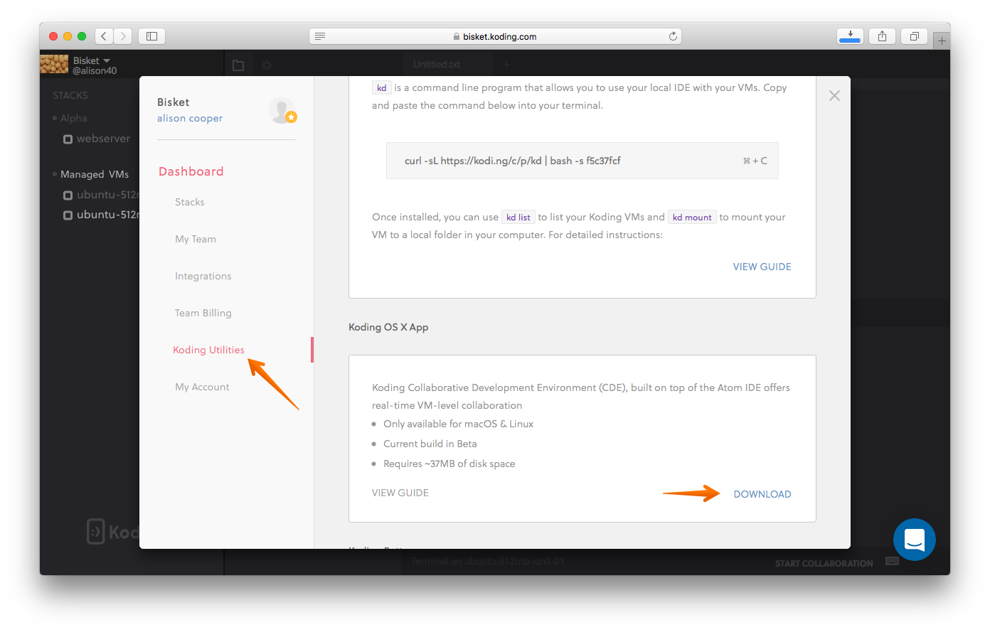 Download Koding OS X App